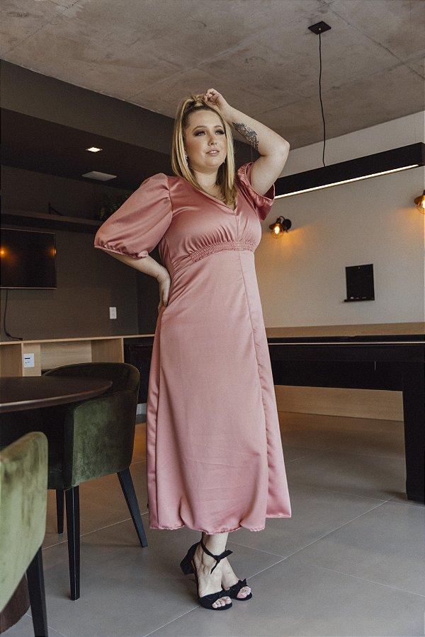 Vestido Crepe Acetinado Sabrina Rosa Antigo
