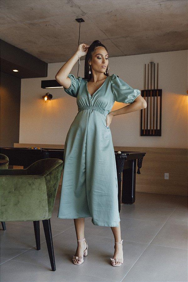 Vestido Crepe Acetinado Sabrina Menta