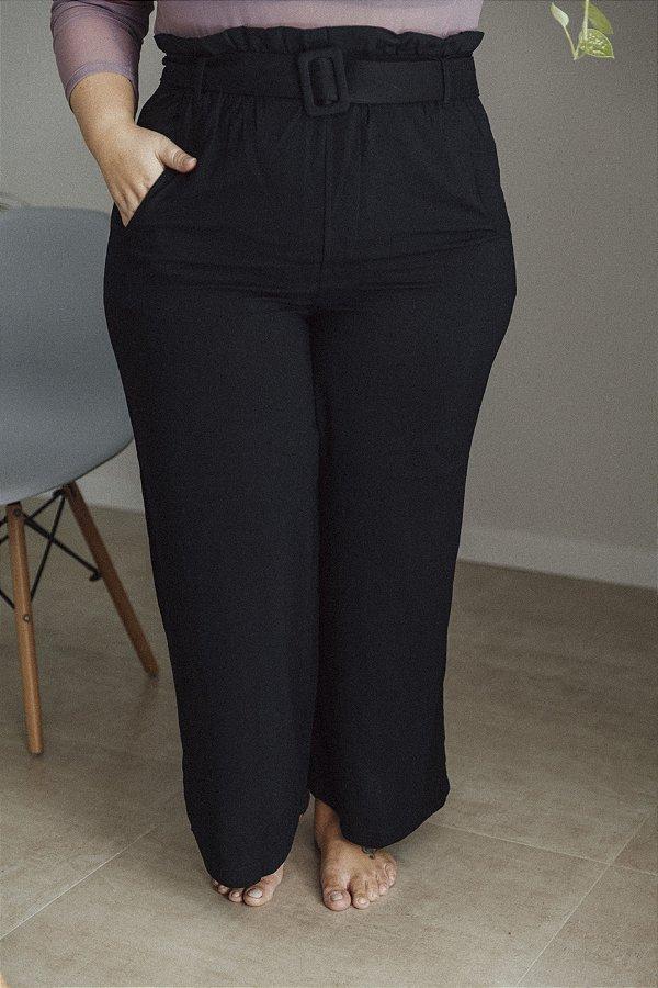 Pantalona Viscolinho Com Cinto Preta