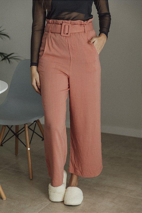 Pantalona Viscolinho Com Cinto Rosa Antigo