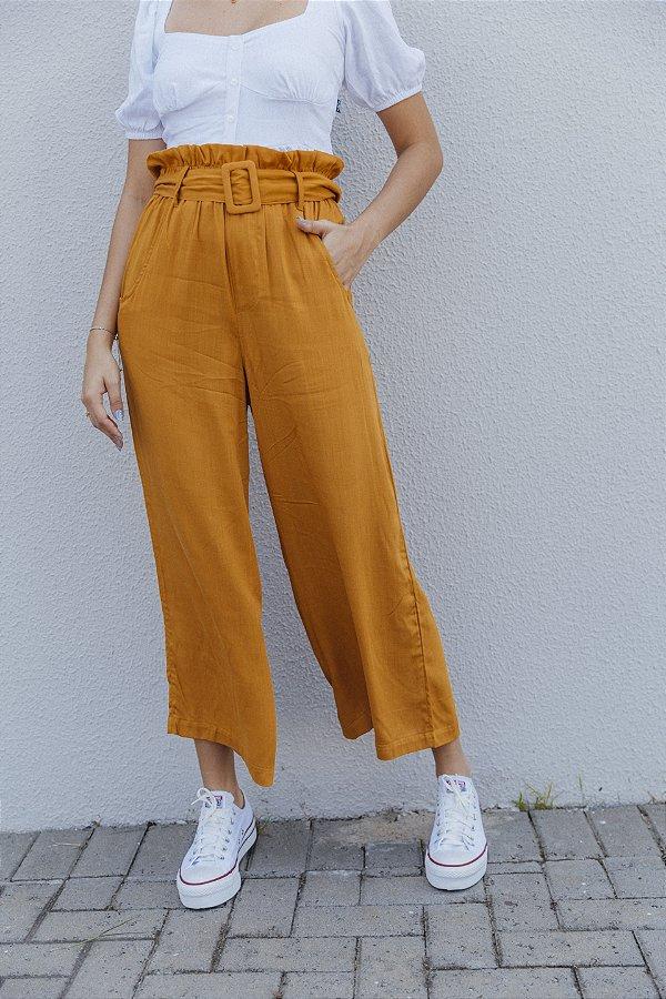 Pantalona Viscolinho Com Cinto Mostarda