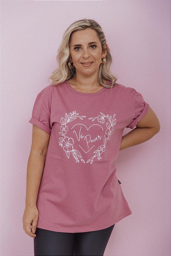 Camiseta Feminina Vó Power Vintage Rosa