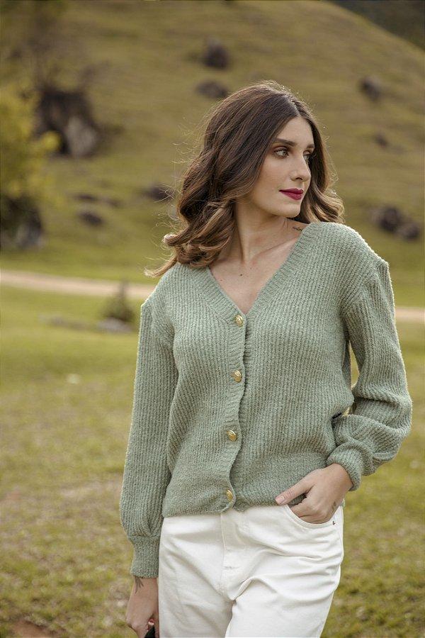 Cardigan Tricot Verde com Botões