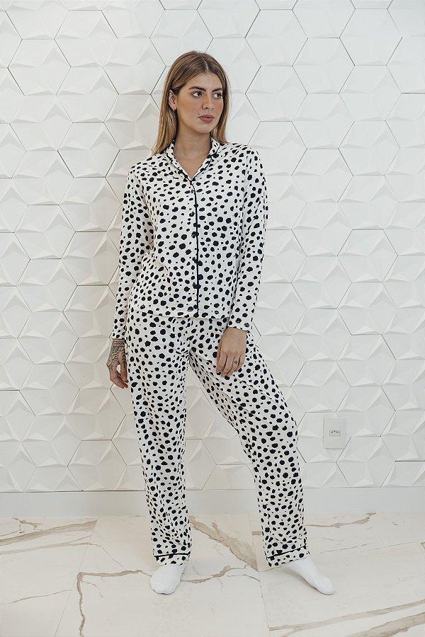 Pijama Manga Longa Poá Branco