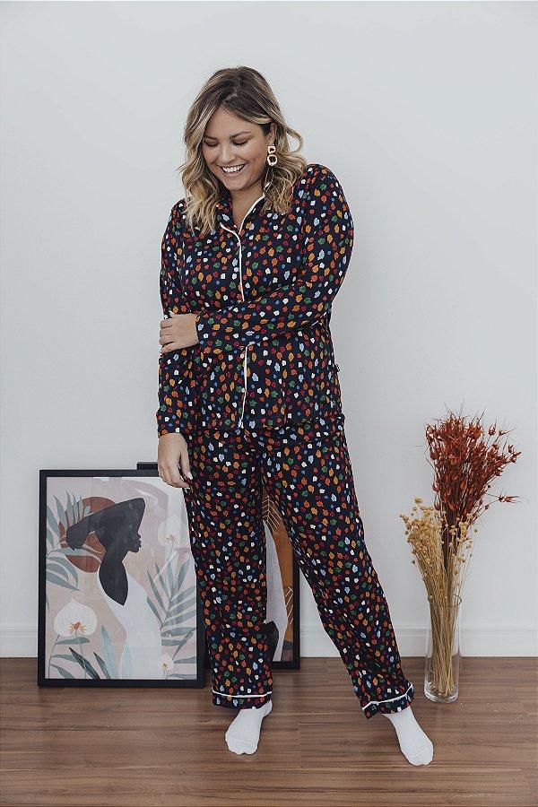 Pijama Manga Longa Poá Colorido