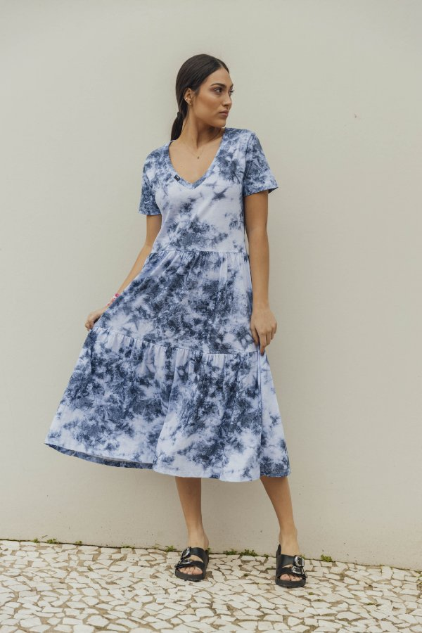 Vestido Malha Camadas Tie Dye Azul Oceano