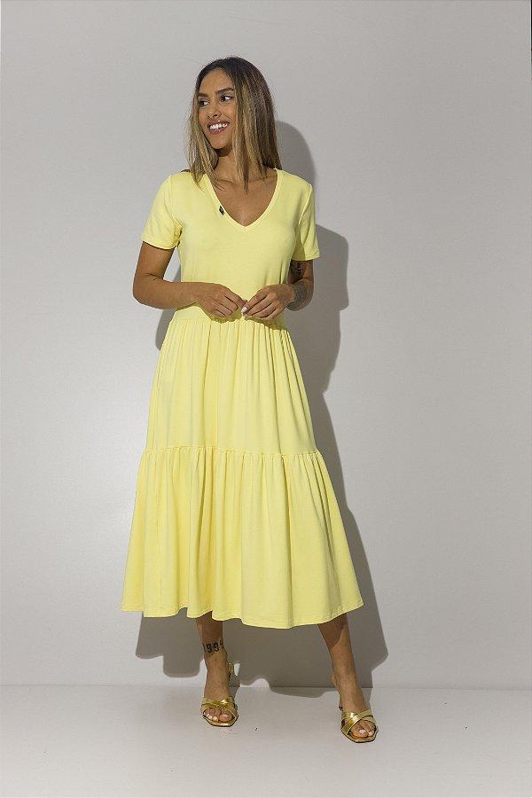 Vestido Malha Camadas Amarelo