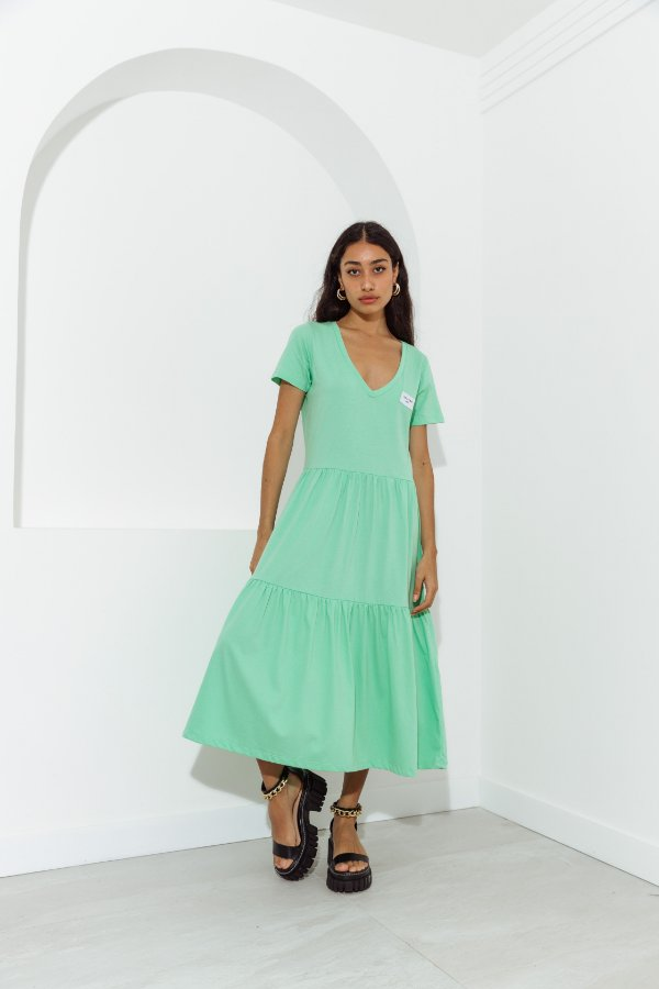 Vestido Malha Camadas Verde
