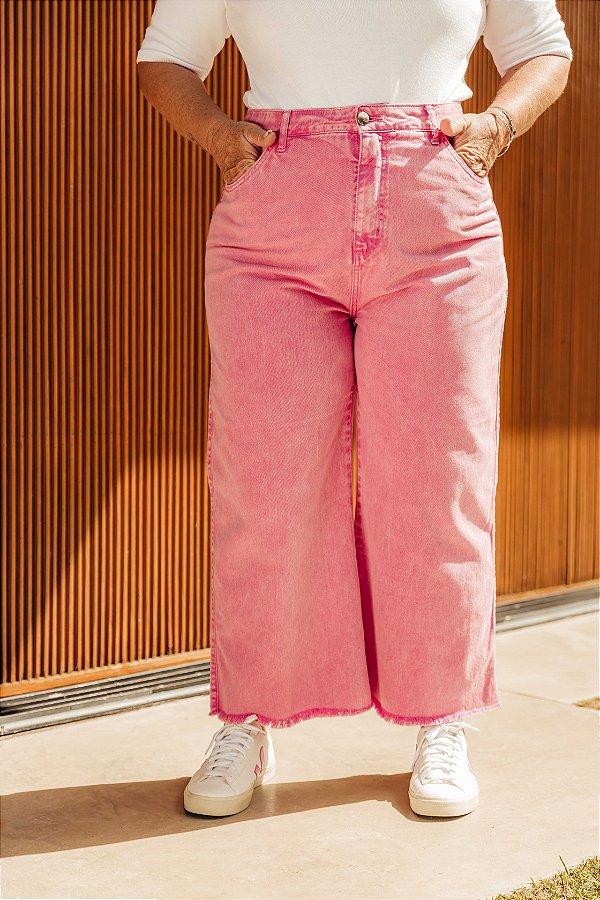 Calça Jeans Cropped Flare Bárbara CANDY PINK Estonado