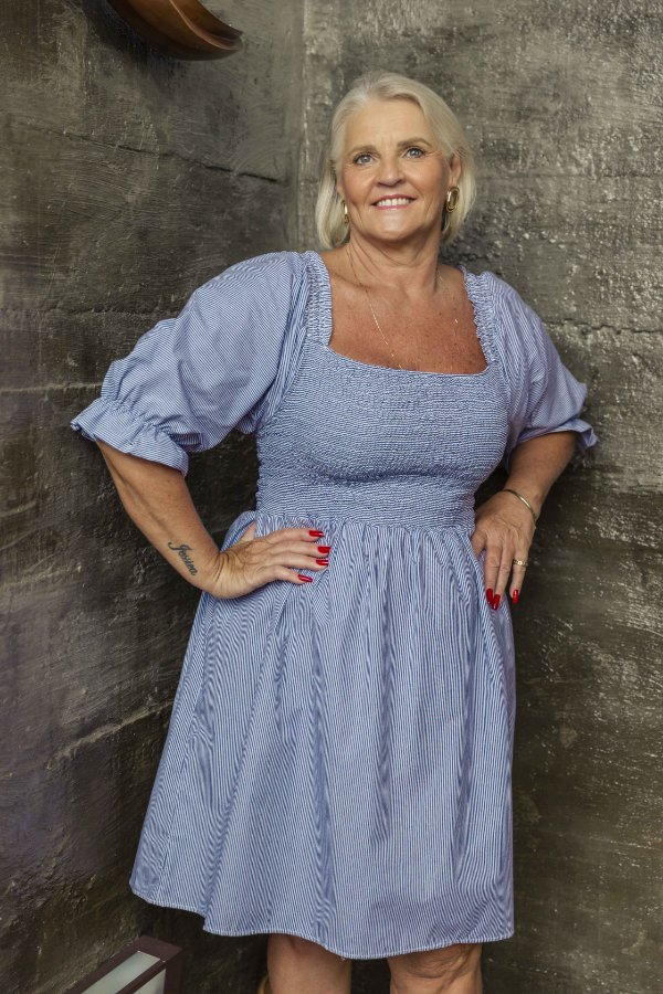 Vestido Jess Curto Listrado Azul
