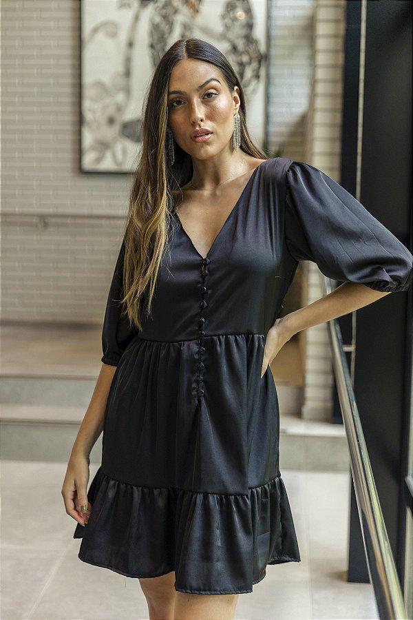 Vestido Cetim Manoela Preto Curto