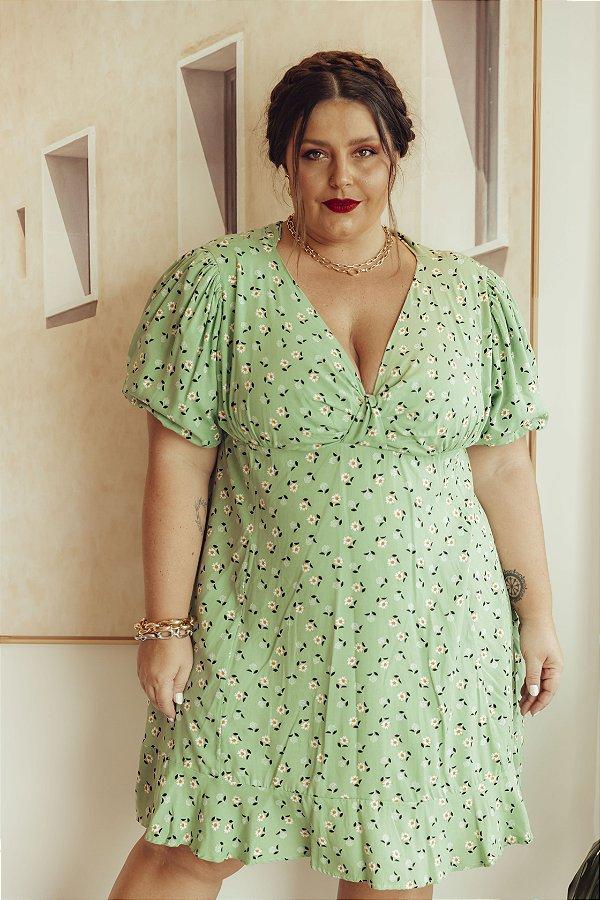 Vestido Nó Floral Verde