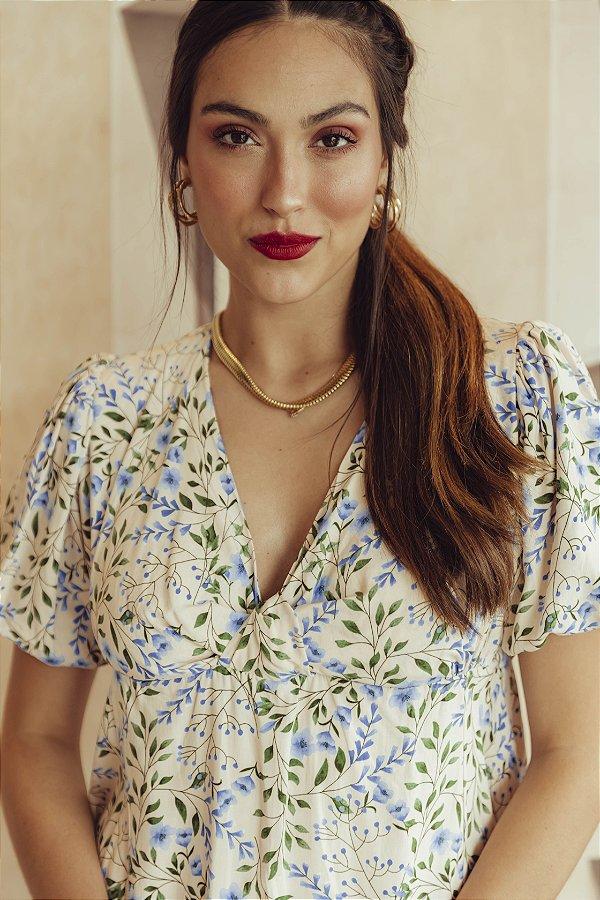 Vestido Nó Floral Marfim