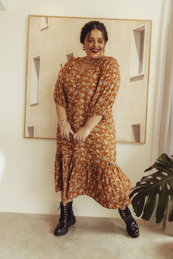 Vestido Luiza Floral Caramelo