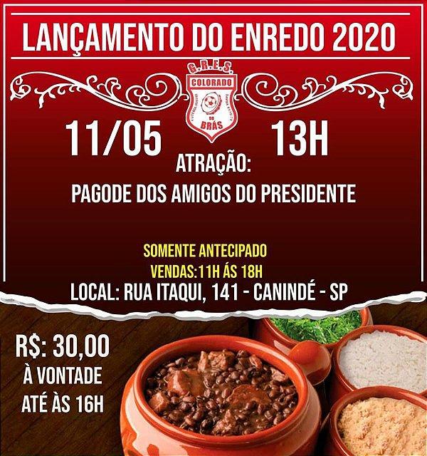 FEIJOADA DE LANÇAMENTO DO ENREDO 2020 ###VENDA SOMENTE ANTECIPADA###