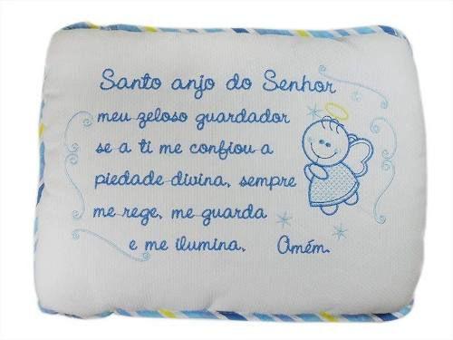 Travesseiro Bebê Santo Anjo Bordado - Azul