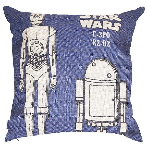 Almofada Star Wars C-3PO e R2-D2 45x45