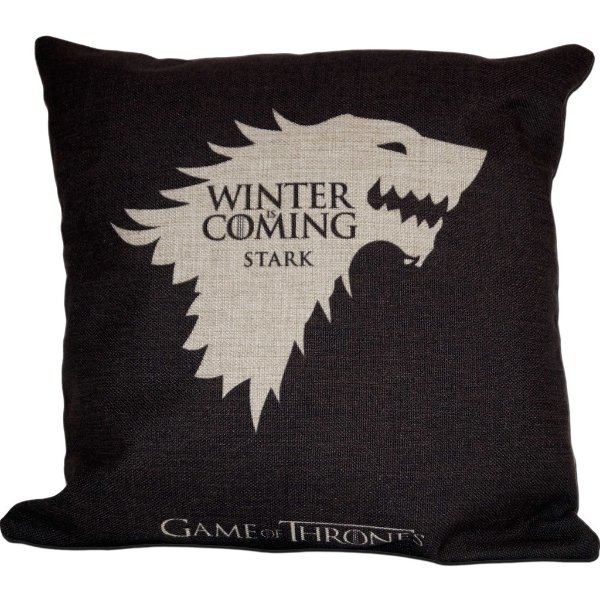Capa Almofada Game Of Thrones Stark Preta 45x45