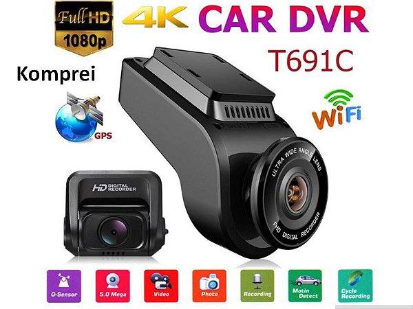 Câmera Filmadora Veicular Wifi - 4k Dual Cam
