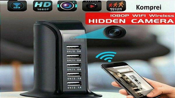 Carregador de Parede USB WiFi 5 Portas Com Câmera HD 4K Escondida