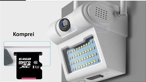 Câmera 1080P sem fio com lâmpada de Led
