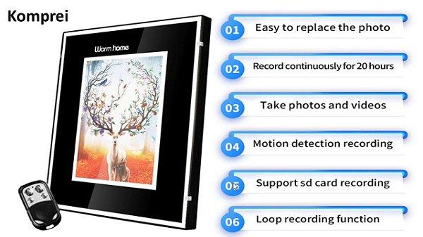 Porta Retrato Gravador de Áudio e Vídeo com Câmera Oculta