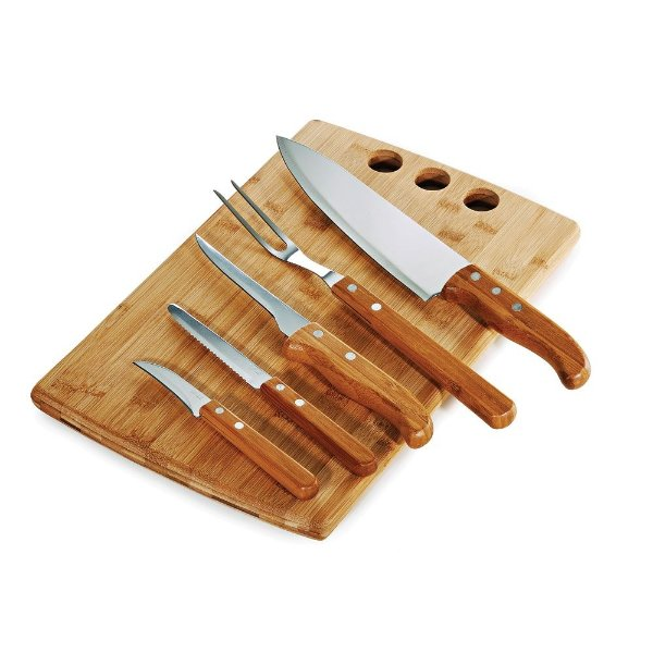 Conjunto para Churrasco/Cozinha em Bambu/Inox - 6 peças