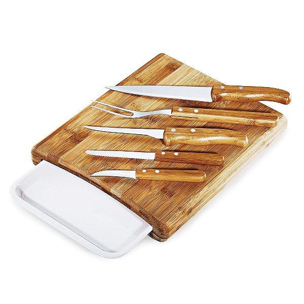 Conjunto para Cozinha em Bambu/Inox - Melamina Arizona (7 peças)