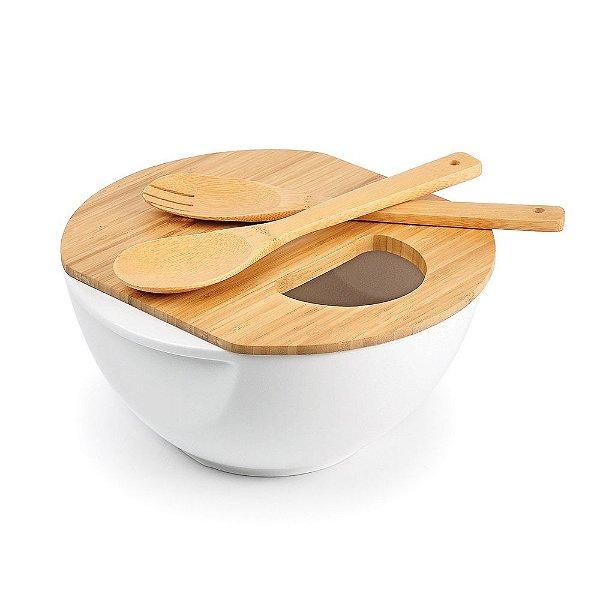 Conjunto para servir em Porcelana/Bambu