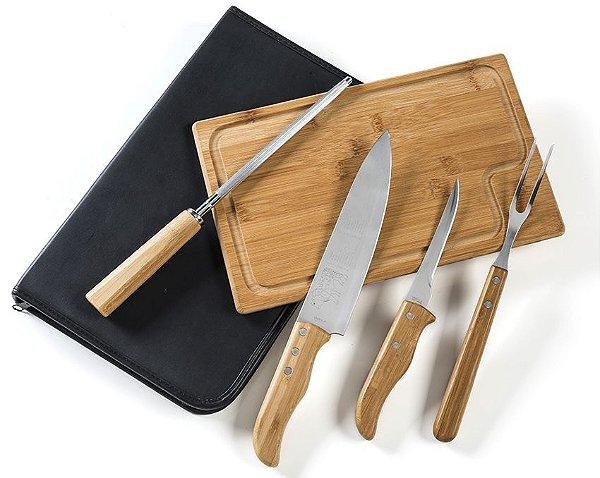 Conjunto de Facas Inox/Bambu com Estojo (6 peças)