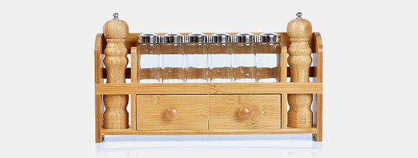 Porta Condimentos em Bambu com Acessórios - (9 peças)