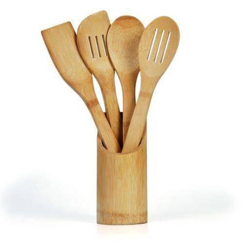Conjunto de Utensílios em Bambu - 5 peças