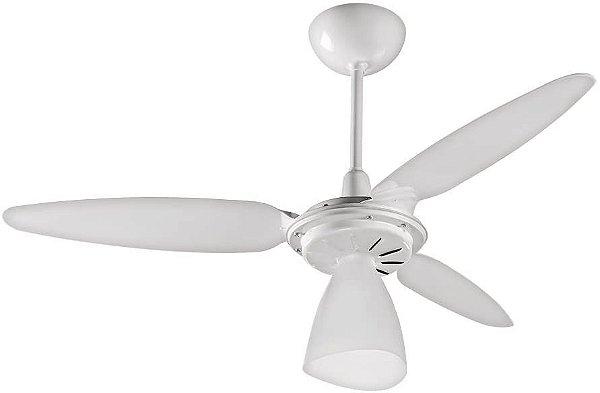 Ventisol Ventilador De Teto Wind Light Branco 3pás Transparente 127v Lustre Para Uma Lâmpada