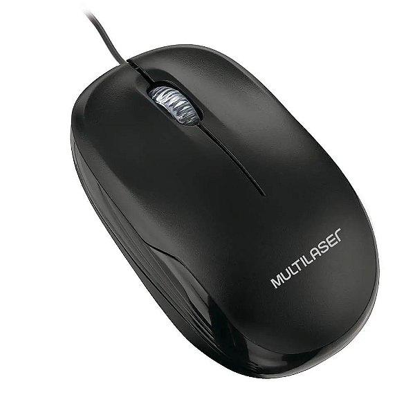 Mouse Multilaser Box Optico Com Fio Preto USB MO255 1200dpi 3botoes