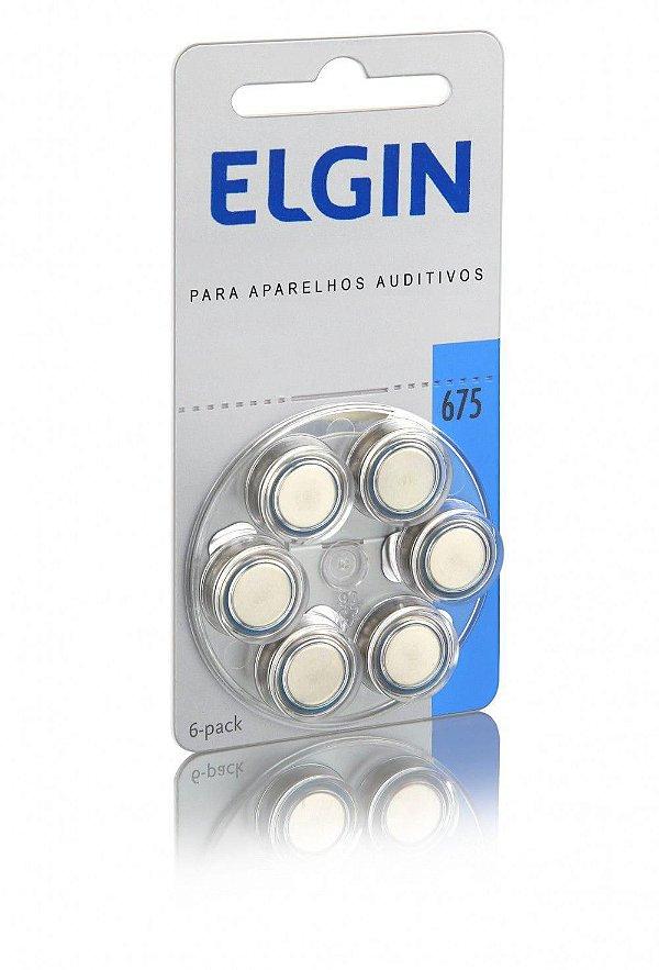 Bateria Auditiva Elgin 1,4v 675 PR44 Blister Com 6 Unidades