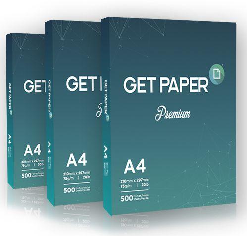 Resma Papel Sulfite A4 500 folhas 75g 210X297mm Branco Get Paper Premium