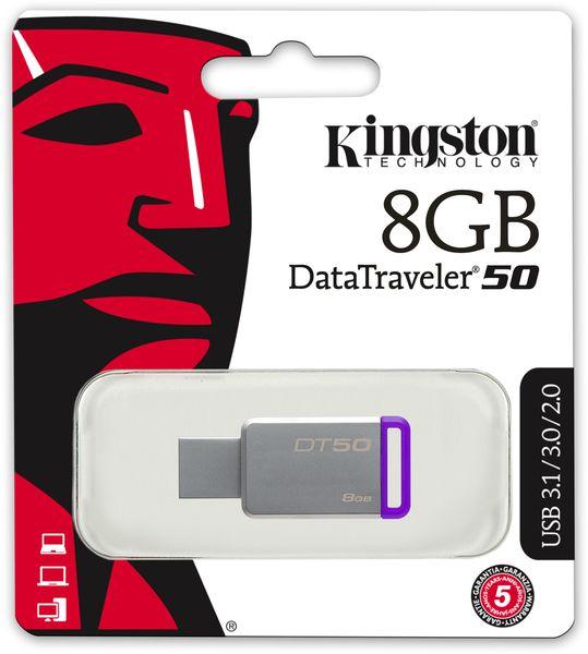 Pen Drive USB 3.1 DT50/8gb Datatraveler 50 8gb Metal Roxo Kingston