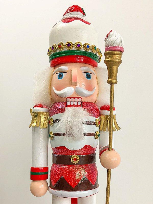 Boneco Quebra Nozes cupcake branco com vermelho - 40 cm