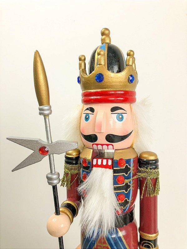 Boneco Quebra Nozes coroa com escudo vinho e azul - 40 cm