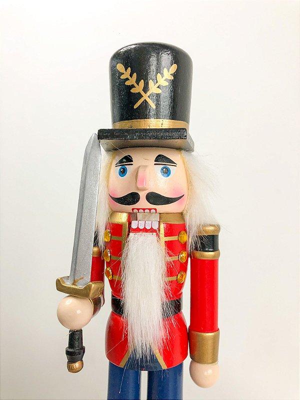 Boneco Quebra Nozes vermelho com espada -  26 cm