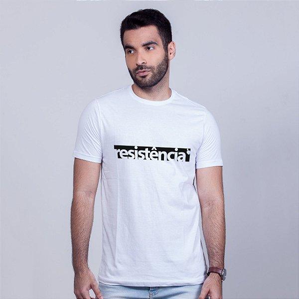 Camiseta Branca Resistência Estampa Preta