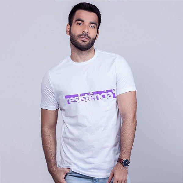 Camiseta Branca Resistência Estampa Roxa
