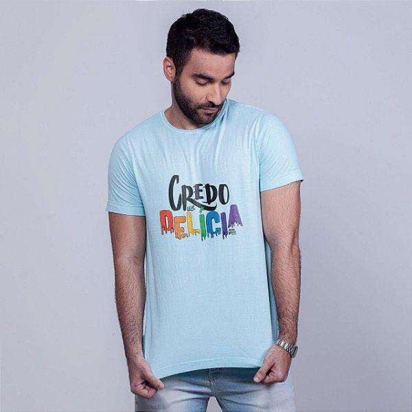 Camiseta Estonada Credo que Delícia Azul Amandrafts