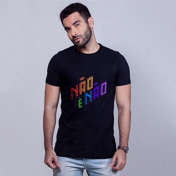 Camiseta Não é Não Preta Amandrafts