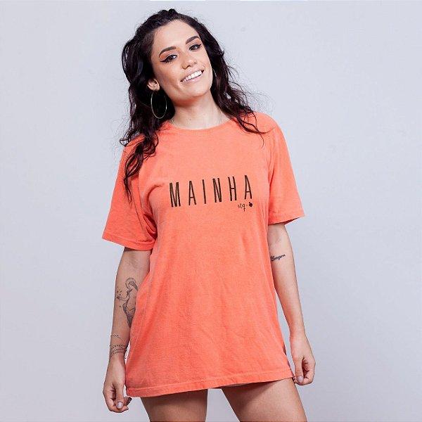 Camiseta Estonada Mainha Sem Etiqueta Laranja
