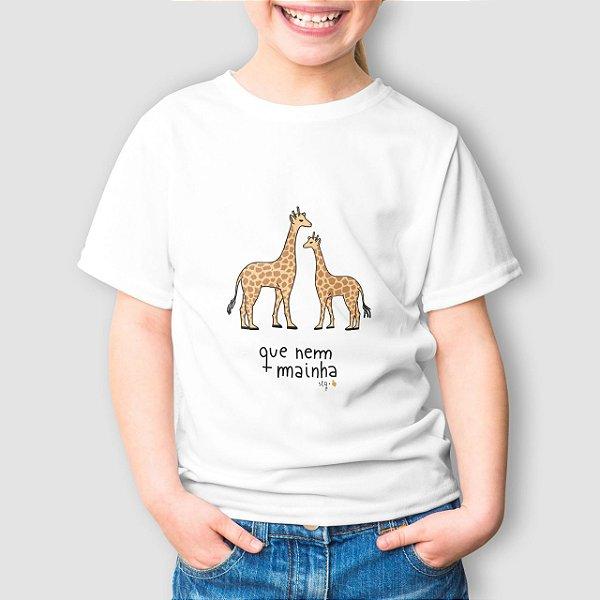 Camiseta Infantil Que Nem Mainha Girafa Branca