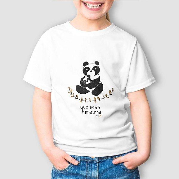 Camiseta Infantil Que Nem Mainha Panda Branca