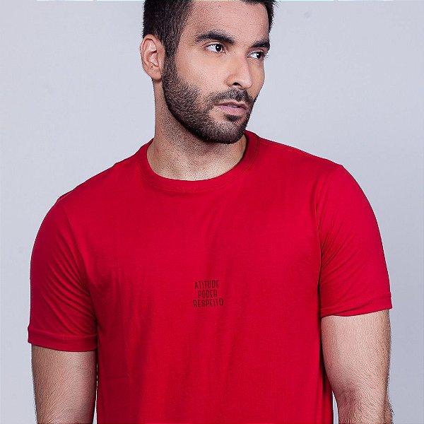 Camiseta Atitude Poder e  Respeito Vermelha