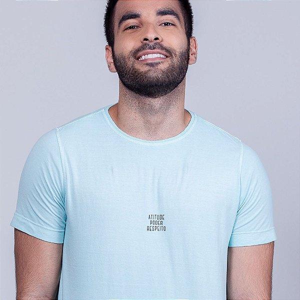 Camiseta Estonada Atitude e  Poder Respeito Azul