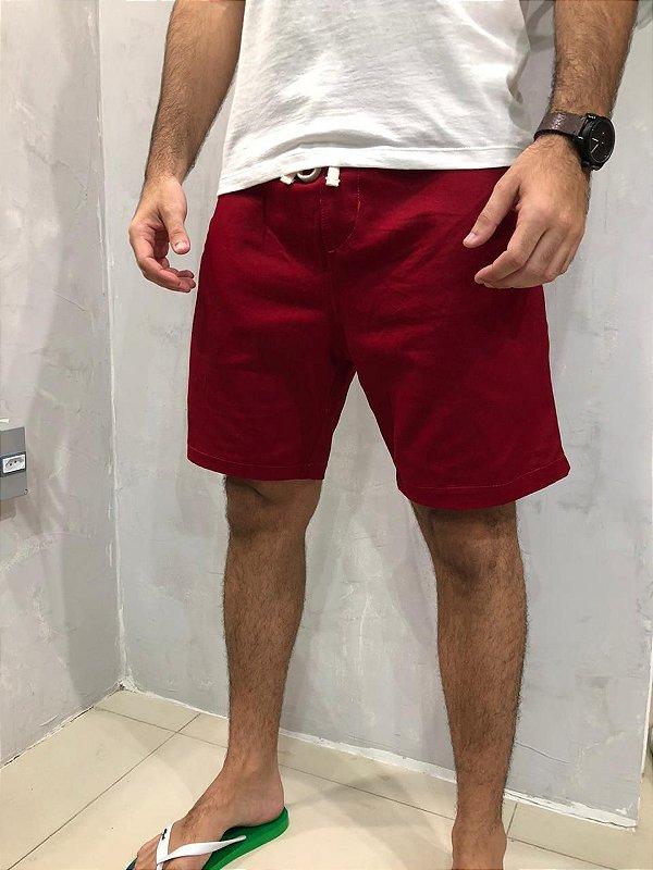 Bermuda Sarja Vermelha Sem Etiqueta